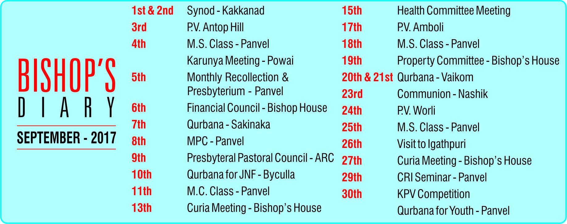 Bishops Diary September